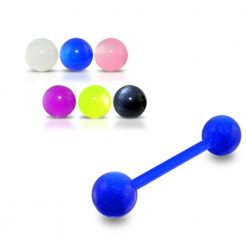 Blue UV Tongue Barbell with Single Color UV Balls