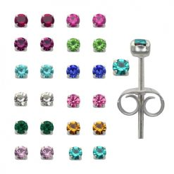 2mm Round Birth Stone Ear Studs in a 12 pair Tray