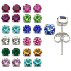 Sterling Silver 4mm Ear piercing Earrings studs 12 pair Mixed Birth Stones