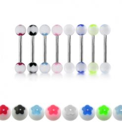 316L Surgical Steel Tongue Barbells With Acrylic UV Balls