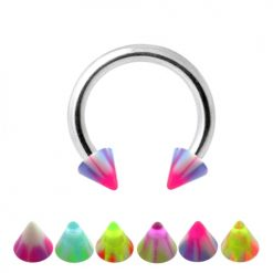 316L Surgical Steel Horseshoe Circular Barbell Ring with CBB UV Cones