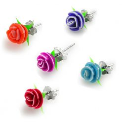 Silicone Rose Decorated With Silver Ear Stud