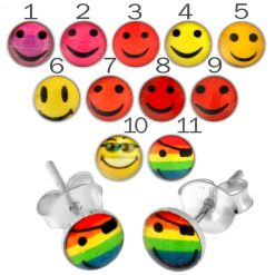 Fancy Smiley Logo Silver Earring PACEAR155