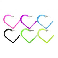 30mm UV React Fashionable Heart Earring