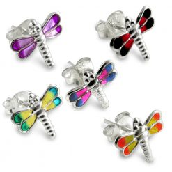 Sterling Silver Dragonfly Hand Painted Earring