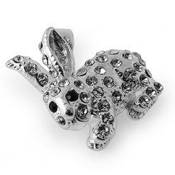 925 Sterling Silver Jeweled Rabbit Pendant
