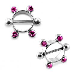 Pink Gem Surgical Steel Nipple Rounder