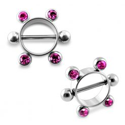Pink Gem Surgical Steel Nipple Rounder Barbell with 5mm Balls