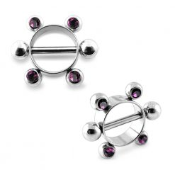 Amethyst Jeweled Surgical Steel Nipple Rounder