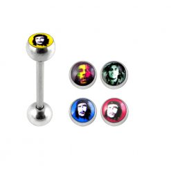 Tongue Barbell with 4 Free Images Logo Ball