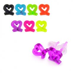 UV React Acrylic Heart Ear Stud Pack
