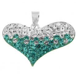 925 Sterling Silver Crystal stone Heart Pendent