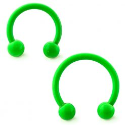 Neon Green 316L Surgical Steel Circular Barbell with Ball-0