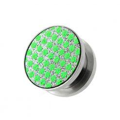 Green Dots on White Glitter Ear tunnel gauges-0