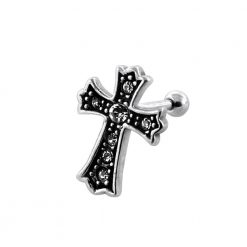 Jeweled Irish Crucifix Fake Ear Plug-0