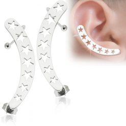 Hollow Stars Ear Cuff Wrap Cartilage Clip on Piercing Ear rings-0