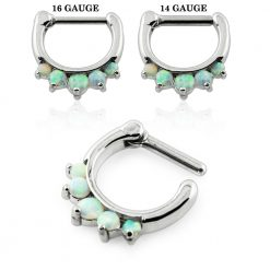 Synthetic White Opal Septum Clicker Piercing-0
