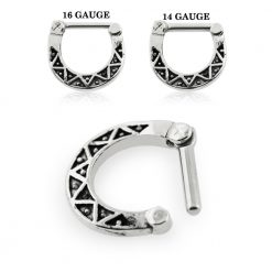 Tribal Dots Oxidized Septum Clicker Piercing-0