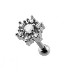 Casting Flower Crystal Cartilage Piercing Earring-0