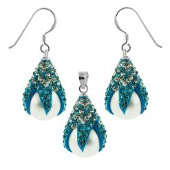 Multi Crystals Dragon Claw Setting over Synthetic Pearl 925 Sterling Silver Set Jewelry