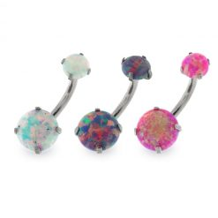 Surgical Steel Belly Button Piercing with Opal Stones-0