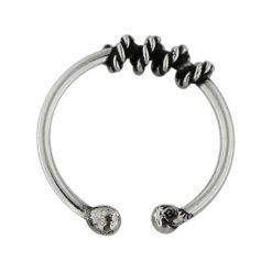 Flexible Sterling Silver Circular Rope Fake Septum Piercing-0