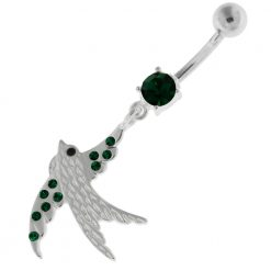 Dangling Jeweled Sparrow Belly Button Bar-0
