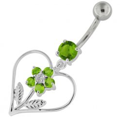 Jeweled Flower in Heart Sterling Silver Navel Belly Button Bar-0