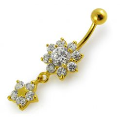 14G 10mm Yellow Gold Platted Sterling Silver Clear Jewel Flower Star Belly Ring-0
