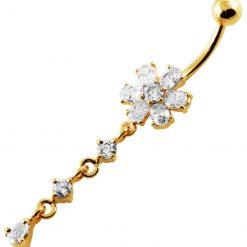 14G 10mm Yellow Gold Platted SterlingSilver Clear Jewel Flower Curve Belly Ring-0