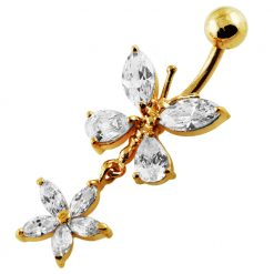 14G 10mm Yellow Gold Platted Silver Clear Jewel Butterfly W/ Flower Belly Ring-0