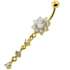 14G 10mm Yellow Gold Platted Sterling Silver Clear Flower Design Belly Ring-0