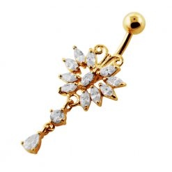 14G 10mm Yellow Gold Platted Silver Clear Jeweled Design Moving Belly Ring-0