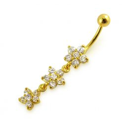 14G 10mm Yellow Gold Platted 925 Sterling Silver Clear Triple Flower Belly Ring-0