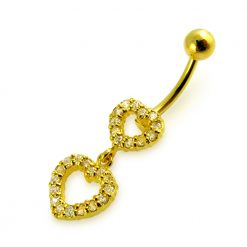 14G 10mm Yellow Gold Platted 925 Sterling Silver Clear Jeweled Double Heart Belly Ring-0