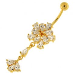 14G 10mm Yellow Gold Platted Silver Clear Jewel Flower Dangling Belly Ring-0