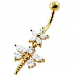 14G 10mm Yellow Gold Platted Silver Clear Jewel Flower and Dragonfly Belly Ring-0
