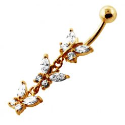 14G 10mm Yellow Gold Platted Silver Clear Jeweled Fancy 3 Butterfly Belly Ring-0