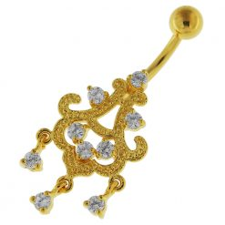 14G 10mm Yellow Gold Platted Silver Clear Jeweled Chandelier Sky Belly Ring-0
