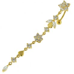 14G 10mm Yellow Gold Platted Silver Clear Jeweled Flower Climber Belly Ring-0