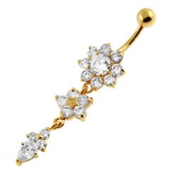 14G 10mm Yellow Gold Platted 925 Sterling Silver Clear Jewel Flower Belly Ring-0