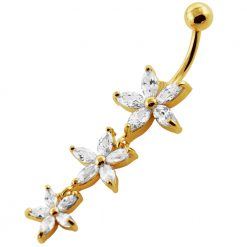 14G 10mm Yellow Gold Platted Silver Clear Jeweled 3 Dangling Flower Navel Ring-0