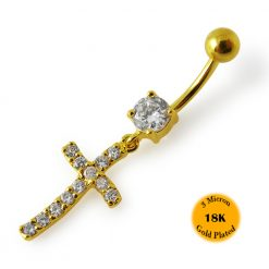 14G 10mm Yellow Gold Platted 925 Sterling Silver Clear Jeweled Cross Belly Ring-0
