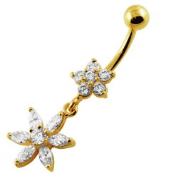 14G 10mm Yellow Gold Platted 925 Sterling Silver Clear Jewel 2 Flower Belly Ring-0