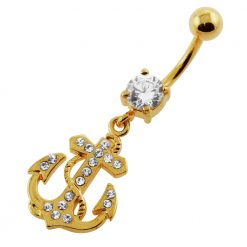 14G 10mm Yellow Gold Plated Sterling Silver Clear Jeweled Anchor Navel Belly Bar-0