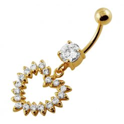 Yellow Gold Plated Silver Clear Jeweled Heart 14G 10mm Navel Belly Button Ring-0