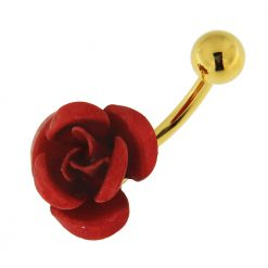 14G 10mm Yellow Gold Plated Silver Red Jewel Designer Metallic Rose Belly Bar-0