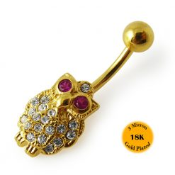 14G 10mm Yellow Gold Plated Sterling Silver Clear Jeweled Owl Navel Belly Bar-0