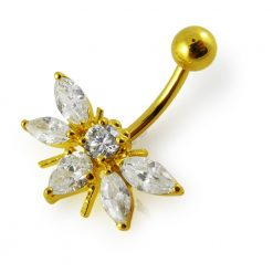 14G 10mm Yellow Gold Plated Sterling Silver Clear Jeweled Fancy Belly Navel Bar-0