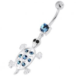 Jeweled Turtle 925 Sterling Silver Navel Belly Piercing-0